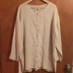 Flax by Jeanne Englehart L button front tunic